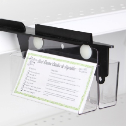 Product Merchandisers for brochures/pamphlets, merchandising strips and hangers, strip clips with label holders